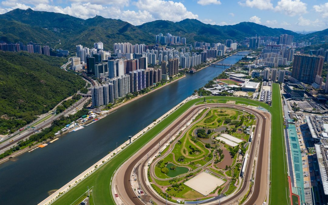 Sha Tin, Hong Kong 23 June 2020: Top view of race course